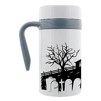 Grindstore Necropolis Church Silhouette Thermal Travel Mug With Handle
