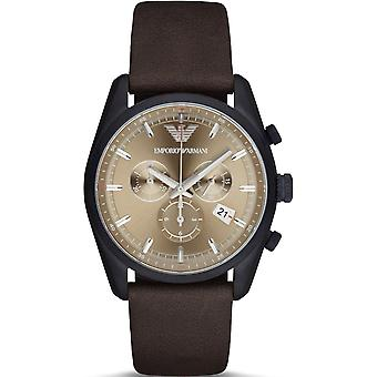 Emporio Armani Ar6078 Beige Sunray Dial Leather Strap Men's Watch