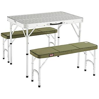 Coleman Pack Away Table For 4 With 2 Green Bench Seats