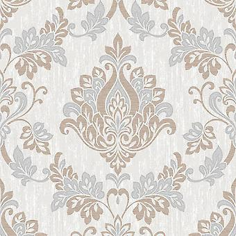 Grey White Taupe Beige Damask Floral Wallpaper Feature Vinyl Washable Senator