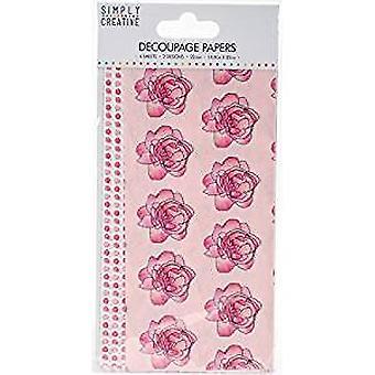 Simply Creative FSC Decoupage Paper - Watercolour Roses (SCDEC040)