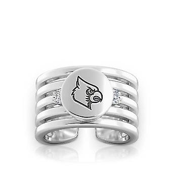 University Of Louisville Engraved Sterling Silver Diamond Multiband Cuff Ring