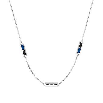 Grand Valley State University Sterling Silver Engraved Triple Station Necklace In Blue & Black