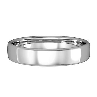 Jewelco London 9ct White Gold - 4mm Essential Bombe Court-Shaped Band Commitment / Anello di nozze
