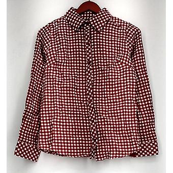 Denim & Co. Top XXS Gingham Button Front Shirt Solid Tank Red A288724