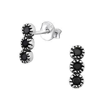 Bali Round  - 925 Sterling Silver Cubic Zirconia Ear Studs - W30089X