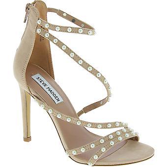 Steve Madden kvinder ' s ankel strop højhælede perler sandaler i blush stof