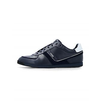 Boss Dark Blue Leather Glaze Low Trainer