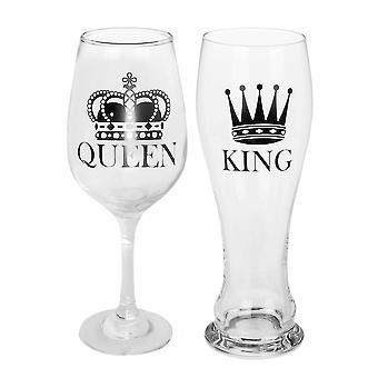 King Beer Glass Queen Wine Glass Set de 2 100% Glass, Socket÷gene 600 & 430 ml. 2 piezas, en caja de PVC.