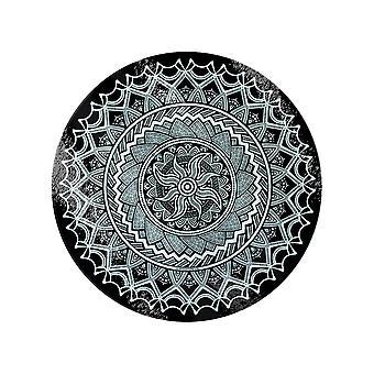 Grindstore Monochrome Mandala Circular Glass Chopping Board