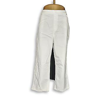 Susan Graver Women's Petite Pants 18WP Stretch Denim Pull-On Crop White A302652