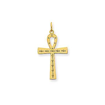 14 k amarillo oro sólido pulido posterior 25x12mm láser diseñado Ankh Cruz encanto -.8 gramos - medidas