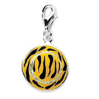 925 Sterling Silver Fancy Lobster Closure Click on CZ Cubic Zirconia Simulated Diamond Enamel Tiger Hat Charm Pendant Ne