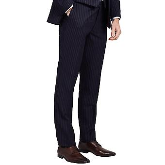 Dobell Mens Navy Suit Trousers Tailored Fit Chalk Stripe