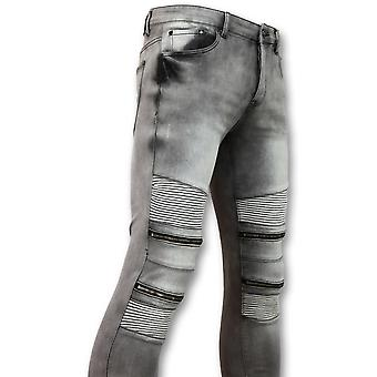 Biker Jeans  Met Rits - Stretch-  Grijs