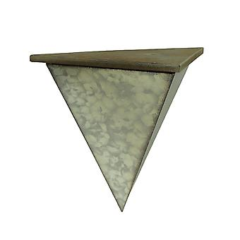 Wood and Galvanized Metal Half Diamond Shaped Wall Sconce Shelf