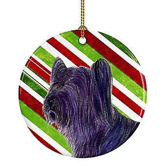 Skye Terrier Candy Cane vacaciones Navidad adorno cerámica SS4532