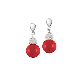 Eternal Collection Solitaire Red Pearl Silver Tone Drop Screw Back Clip On Earrings