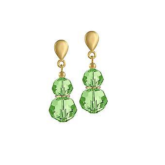 Eternal Collection ECHO Peridot vihreä Crystal kulta sävy pudota ruuvi takaisin Clip korva korut