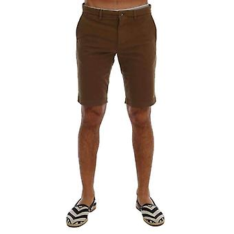 Brown Cotton Stretch Above Knees Shorts -- PAN6662128