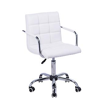 HOMCOM PU Leather Height Adjustable Swivel Office Computer Chair 360 Degree Chair with Chrome Base and Castor Wheels  White Bar stool Armrest
