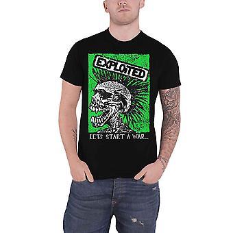 The Exploited T Shirt Lets Start A War Skull Band Logo new Official Mens Black
