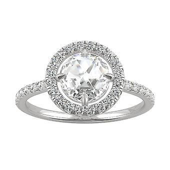 14K valkoinen kulta Moissanite Charles & Colvard 7mm Duet Rose Halo Ring, 1.56 cttw DEW
