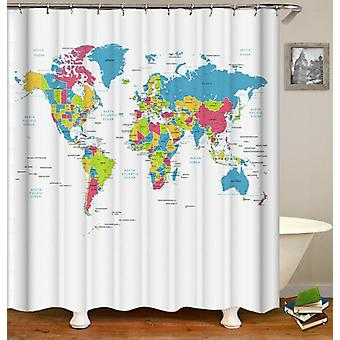 Detailed World Map Shower Curtain