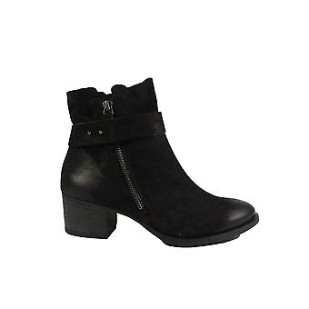 Paul Green 9264-00 Black Nubuck Leather Womens Heeled Ankle Boots