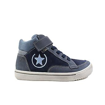 Ricosta Emilio 5621000-170 Navy Nubuck Leather Boys Rip Tape/Bungee Lace Water Resistant Botines