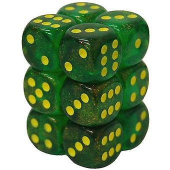 Chessex 16mm النرد بلوك بورياليس القيقب الأخضر / الأصفر 12