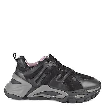 Ash Footwear Flash Black Leather And Mesh Trainer