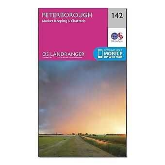 New OS Landranger 142 Peterborough Market Deeping & Chatteris Map Orange