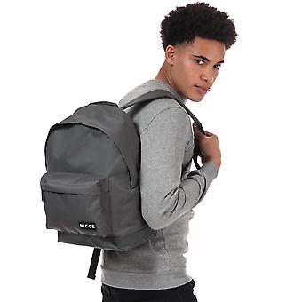 Nicce Kait Logo Backpack In Grey- One Main Zip Compartment- Zip Pocket To Front-