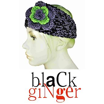 Black Ginger Cosy & Warm Grey & Black Headband con Lime Flower Design