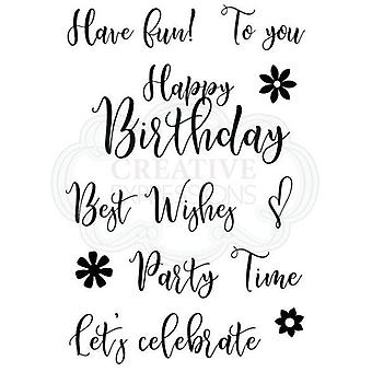Woodware Clear Stamp Set Scripted Wishes Sentiments | Set of 10