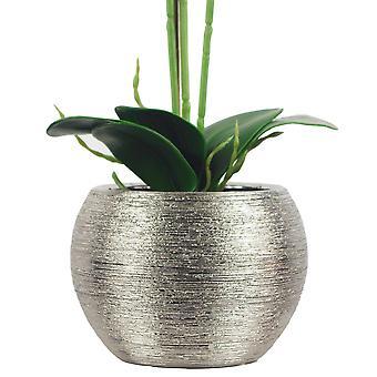 70cm Artificial Orchid Light Pink with Silver Ceramic Planter