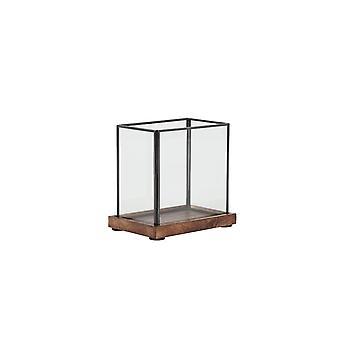 Light & Living Hurricane 18.5x13.5x17cm - Chibo Wood Brown-Black-Glass