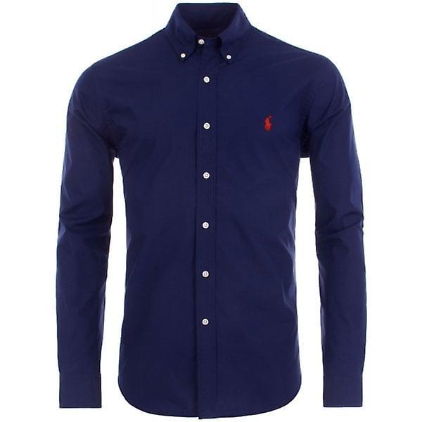 Ralph Lauren Polo Shirt Mens Navy Poplin Performance Slim Fit