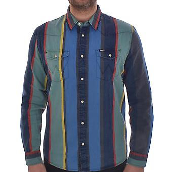 Wrangler Mens Western Long Sleeve Collared Button Down Striped Shirt Top - Multi