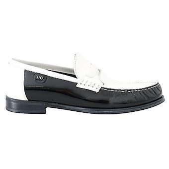 Dolce & Gabbana Schwarz weiß Leder Loafers