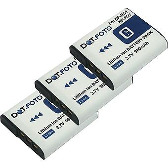 3 x Dot.Foto Sony NP-BG1, NP-FG1 batería de repuesto - 3.7v / 960mAh