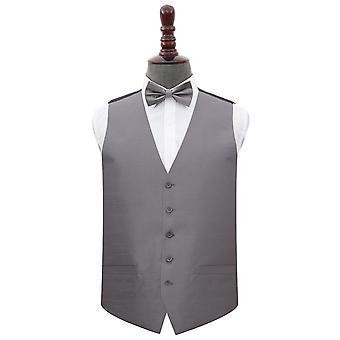 Steel Grey Plaine Shantung Wedding Waistcoat et Bow Tie Set