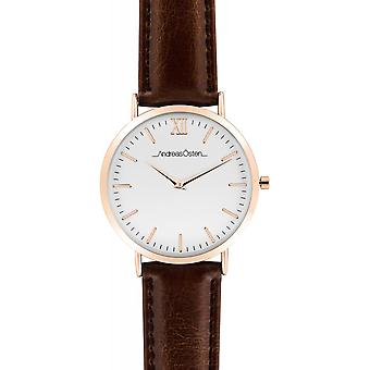 Watch Andreas Osten AO-50 - Leather Watch Brown Bo tier Dor Rose Mixed
