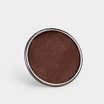 Perilla de puerta de metal - cuero marrón