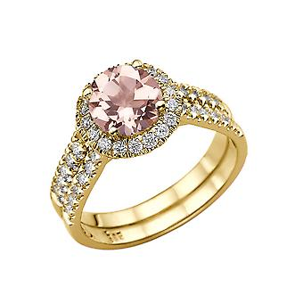 1,50 ctv naturliga persiko/rosa VS Morganite Ring med diamanter 14k gult guld Halo dubbel skaft