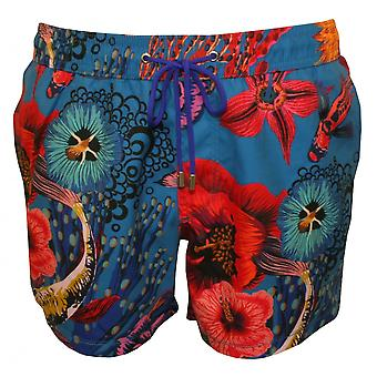 Paul Smith deslumbrante Koi havaiano imprimir mergulho Shorts, Teal Blue / Multi