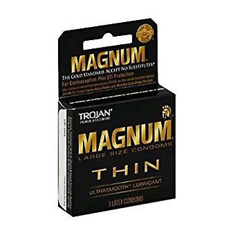 Los condones Trojan magnum tamaño grande, fino, 3 ea