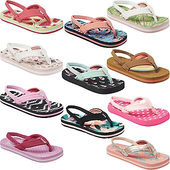 Reef Little Ahi Kids Girls Summer Beach Holiday Pool Slip On Flip Flops Sandals