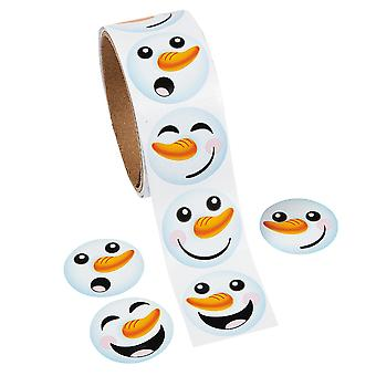 Roll of 100 Christmas Snowman Stickers for Kids